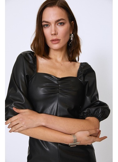 Quzu Karpuz Kol Deri Mini Elbise Siyah